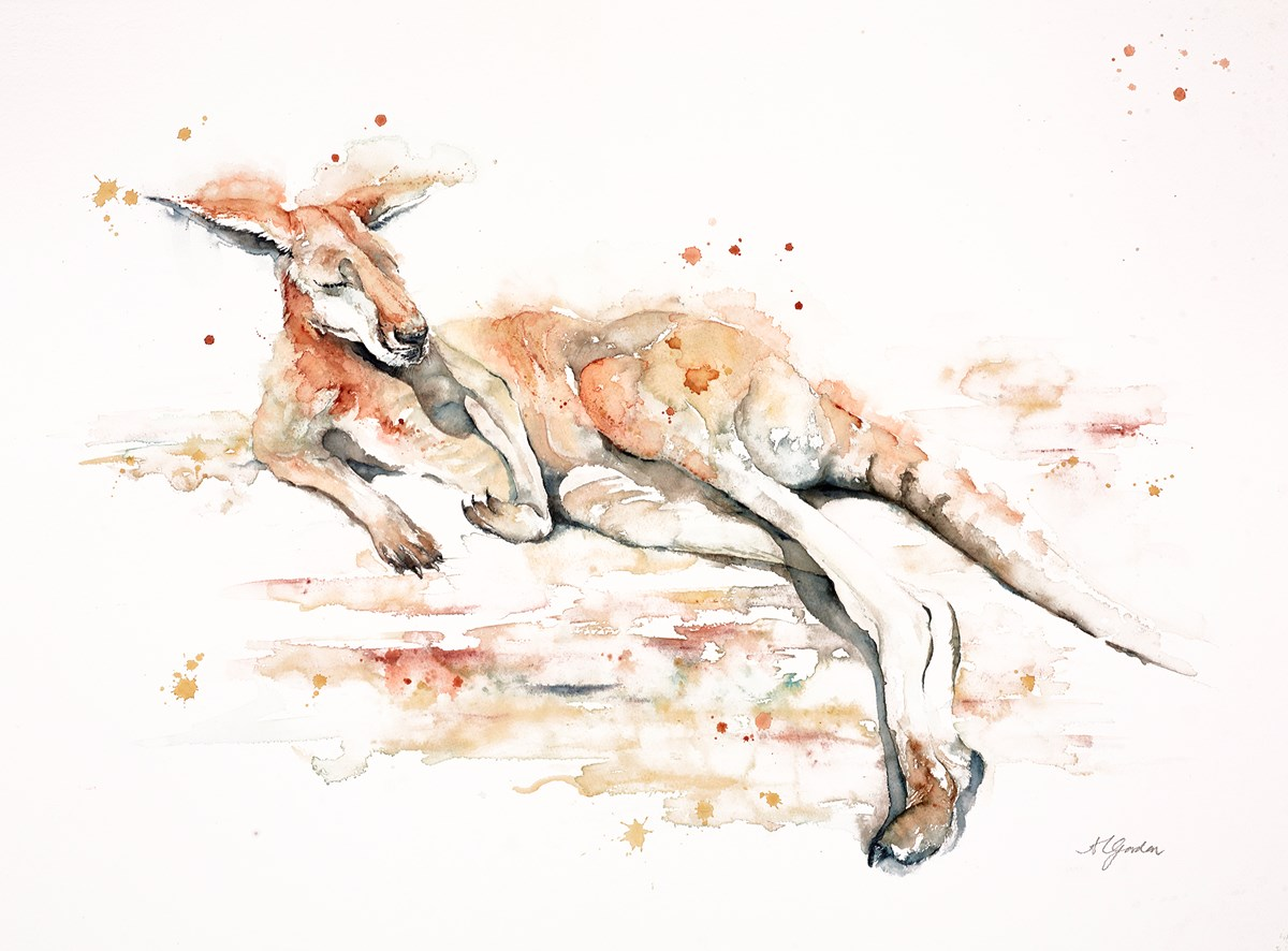 Sunbathing Kangaroo by amanda gordon -  sized 27x19 inches. Available from Whitewall Galleries